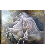 White horses WILD RUN Realism Oil Painting with a beautiful textured bac... - $680.00