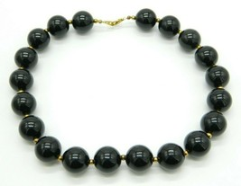 Black Large Acrylic Bead Beaded Gold Tone Vintage Choker Necklace - $19.79