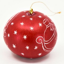 Handcrafted Carved Gourd Art Santa w Sleigh Mini Christmas Ornament Made in Peru image 2
