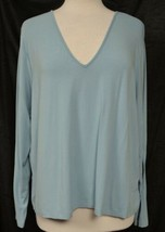 TALBOTS WOMAN Modest Blue V-Neck LS Stretch Top Classic Style Plus Size X  - $14.69