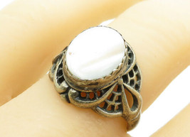 JULIANA WILLIAMS NAVAJO 925 Silver - Vintage Mother Of Pearl Ring Sz 8 -... - $28.24