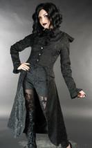 Black Brocade Victorian Gothic Corset Back Jacket Long Steampunk Coat - $75.68