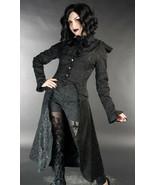 Black Brocade Victorian Gothic Corset Back Jacket Long Steampunk Coat - $71.53