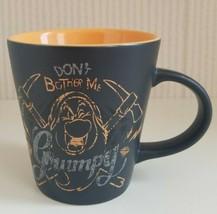 Disney Store Grumpy Mug Don't Bother Me 12oz Orange Pickaxe Pick Axe Black Matte - $27.72