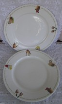 "2 Thomson Pottery My Garden 10 3/4"" Rimmed Dinner Plates Nature Flower - $19.99"