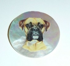 """Wonderful Boxer Dog on MOP - Mother Pearl Shank Button 1-3/8"""" Boxer Dog - $11.99"""