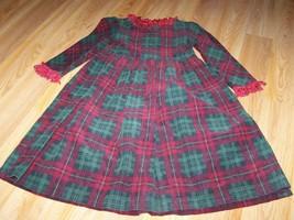 Size 4 Chocolate Soup Boutique Red Green Plaid Corduroy Dress Fringe Tri... - $28.00