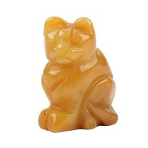 """1.5"""" Colorful Hand Carved Lucky Cat Collectible Figurine Natural Stone O... - $7.27"""
