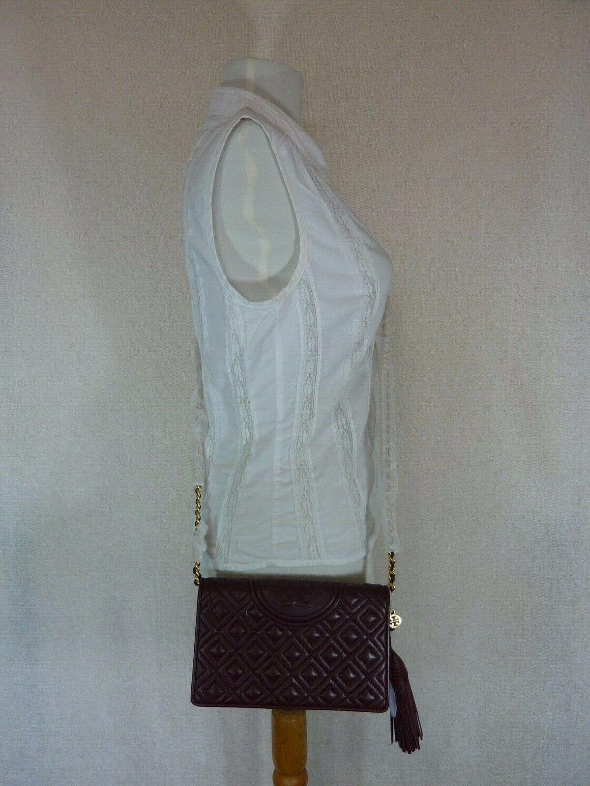 NWT Tory Burch Claret Fleming Wallet Cross Body Bag $328 image 10
