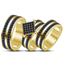Black Diamond His Her Wedding Anniversary Trio Ring Set 14k Gold Over 92... - $154.99