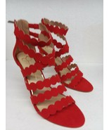 "SEXY 4"" HIGH HEELS JESSICA SIMPSON RED ALERT W ZIPPER STRAPPY WRAP Size 8 - $26.81"