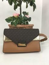 Michael Kors Belt Bag Fanny Pack Logo & Python Embossed Brown Leather Ca... - $89.09