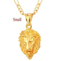 Hot Hip Hop Jewelry Big Lion Head Pendant Gold Color Figaro Chain For Me... - $13.13
