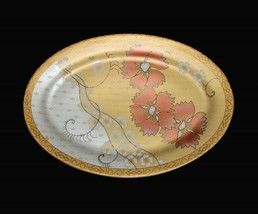 VTG AFG Distributors Asian Floral Gold Coral Frosted Matte Oval Platter ... - $44.99