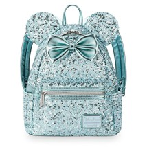 Arendelle Aqua Sequined Minnie Mouse Loungefly Backpack Frozen Disney Pa... - $99.99
