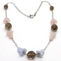 Collier Argent 925, Jacinthe des Bois, Fleurs, Cloches, Quartz Rose, Calcédoine image 1
