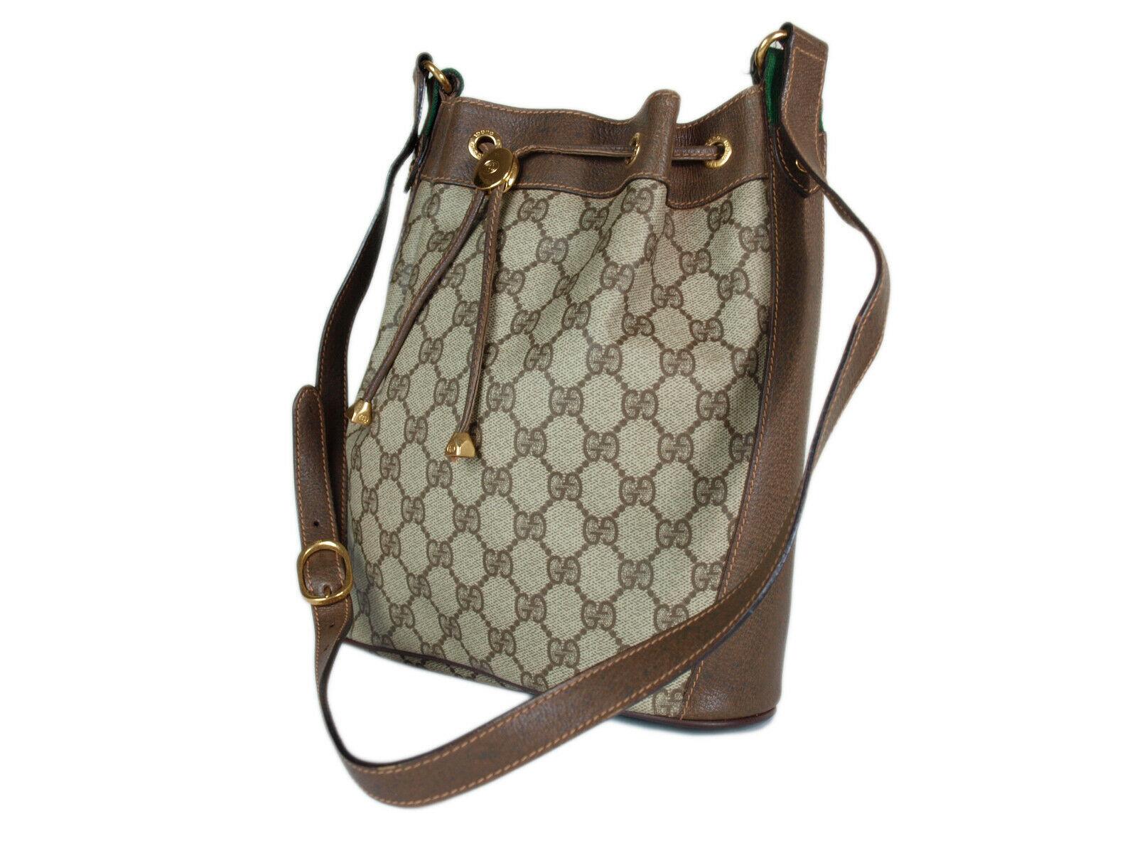 GUCCI GG Web PVC Canvas Leather Browns Drawstring Shoulder Bag GS2171