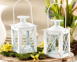 25 White Luminous Mini Lantern Tea Light Holder Wedding Favors Table Decor - $76.90