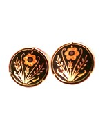 Vintage Damascene Black Gold Floral Clip On Earrings - $17.69
