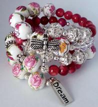 Pink, White & Silver Garden Inspired Memory Wrap Bracelet - $15.00