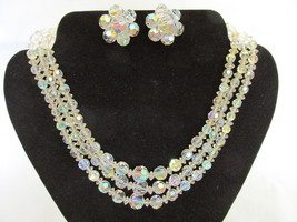 Vintage Three Strand Aurora Borealis Crystal Necklace &  Clip Earrings Set - €21,19 EUR