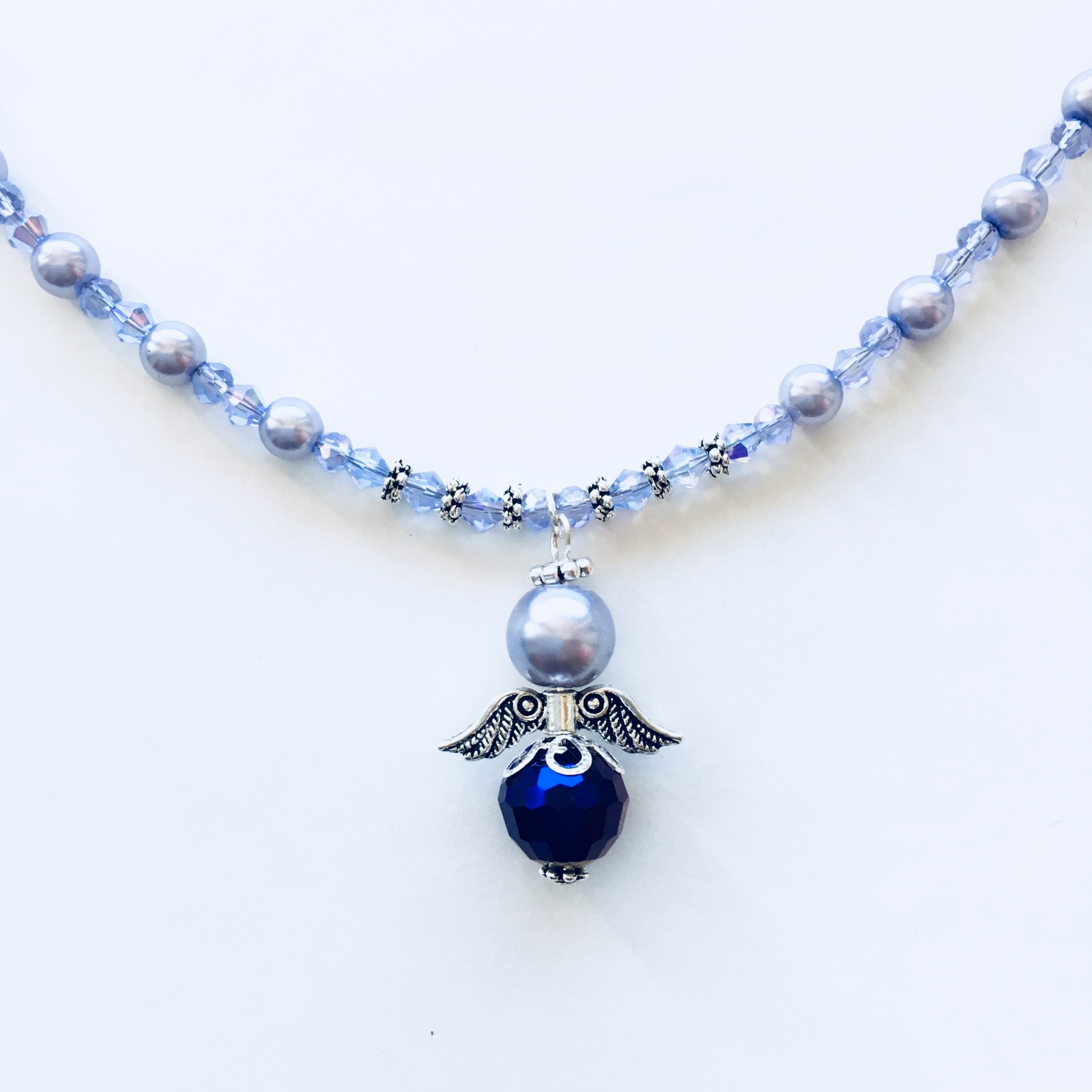 New Handmade Czec Glass, Lavender Crystal  beaded Angel Necklace with Earrings