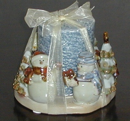 Large Ceramic Winter Snowman Santa Candle & Holder