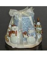 Large Ceramic Winter Snowman Santa Candle & Holder - $7.04
