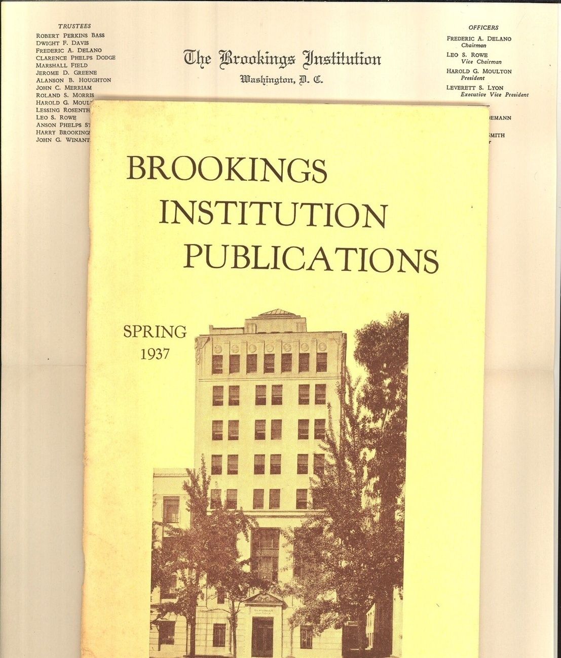 Primary image for Brookings Institution catalog 1937 letterhead vintage humanitarian ephemera