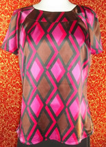NWT JM COLLECTION magenta geometric short sleeve blouse 12 w/DEFECT (T45... - $7.90