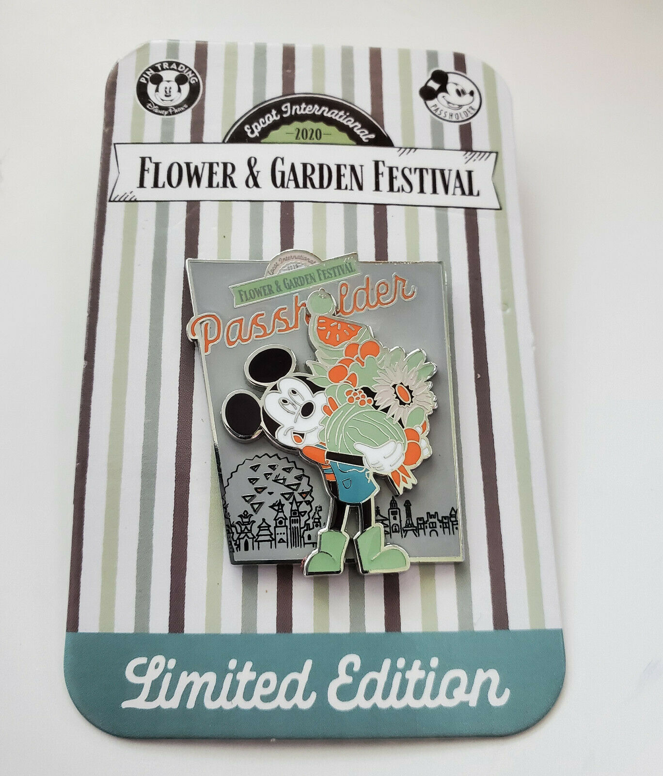 Primary image for NWT 2020 Disney Epcot Flower & Garden Passholder Mickey Limited Edition Pin