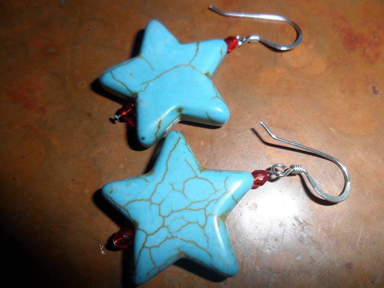 Turquoise Star Earring Handmade.