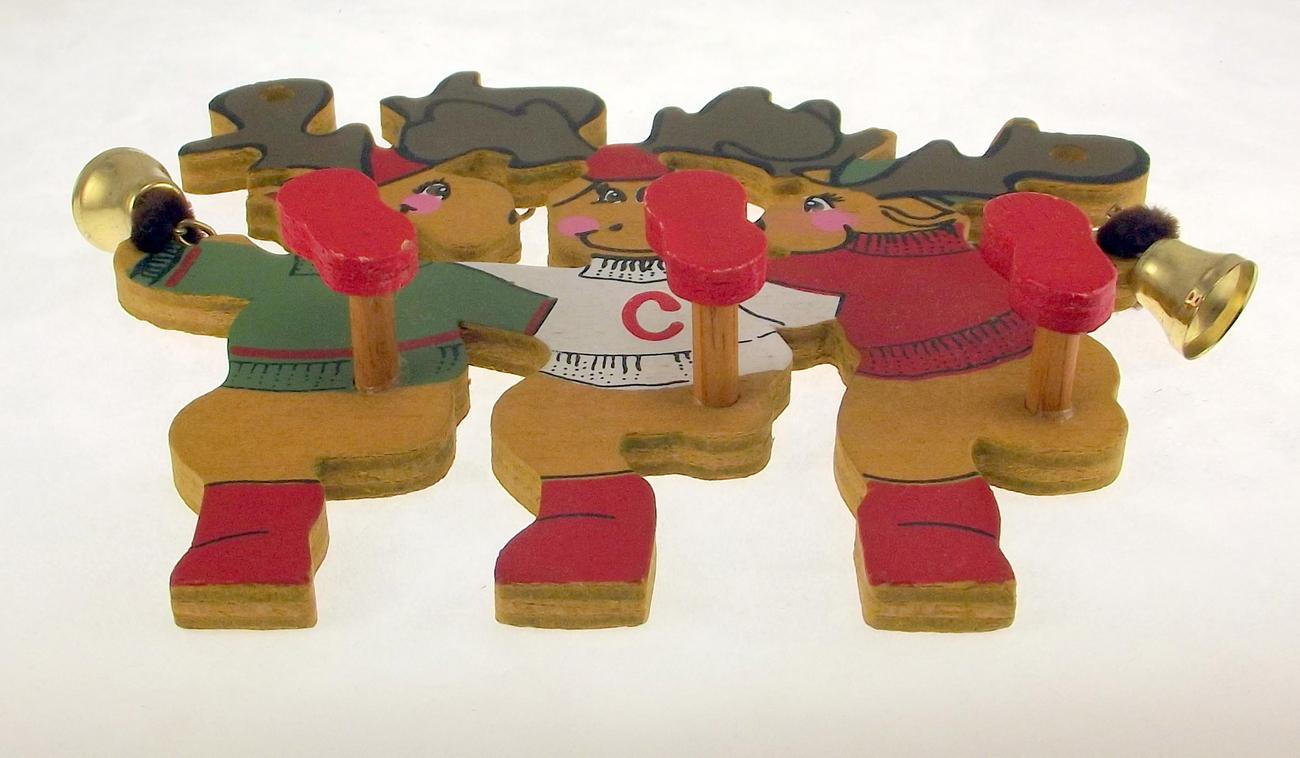 Kurt  Adler Christmas ornament wooden Dancing Reindeer 1989 vintage