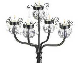 Candelabrum Table Tealight Lamp 5 Crystal-Like Shades Black stand