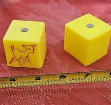 2 Vintage Toy Yellow Plastic Cubes With Jingle Bell And Reindeer Outlined in Red image 3