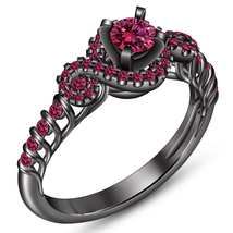 Pure Sterling Silver Black Gold Plated Round Cut Pink Sapphire Engagemen... - $84.99
