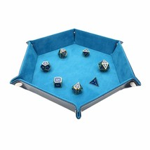 Solid Color Hexagonal Dice Tray Folding PU Storage Box for Table Games  ... - $17.54