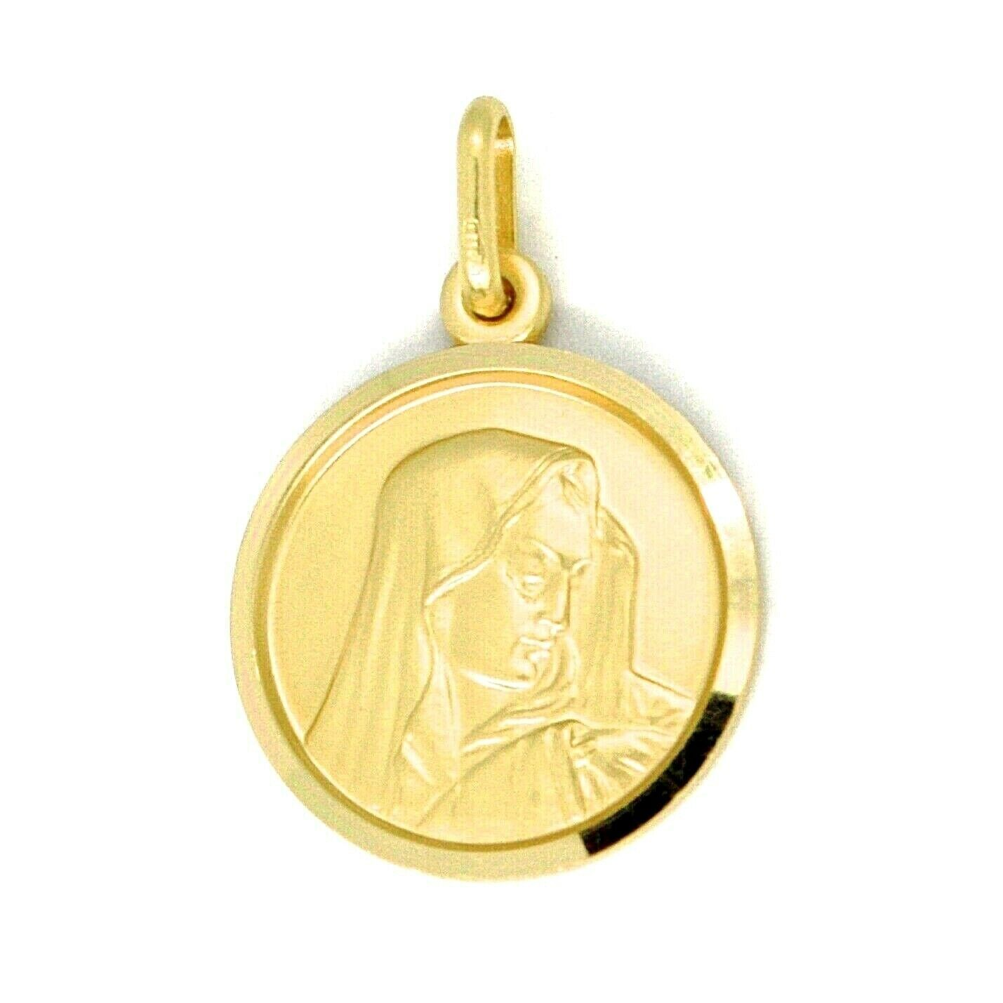 SOLID 18K YELLOW GOLD OUR LADY OF SORROWS, 15 MM, ROUND MEDAL, MATER DOLOROSA