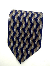 Kenneth Cole New York Mens Tie Blue Gray Oval Geometric Necktie Made in USA - $14.73