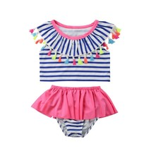Newborn Kids Baby Girls Striped Tankini Bikini Set Swimwear Swimsuit Bat... - $11.57+