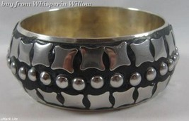 Silver Plated Brass Bangle with Square and Dot Design - $24.95