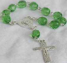 Mini green glass rosary 4 thumb200
