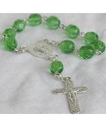 Mini green glass Rosary - $15.00