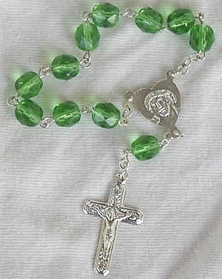 Mini green glass Rosary