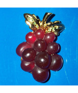vintage grape cluster purple bead brooch pin - $8.95
