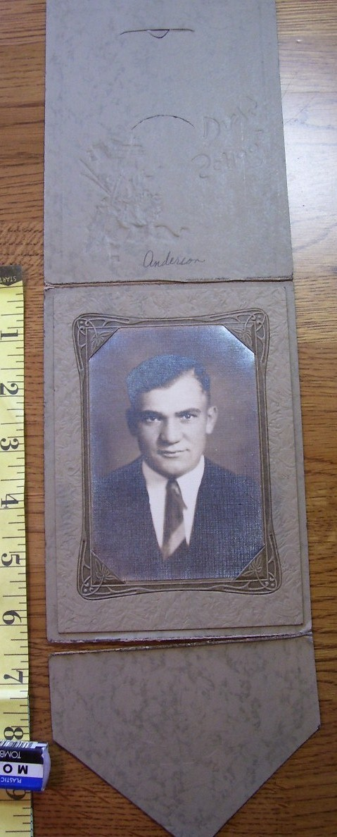 Cabinet Card Young Man Neat Frame School Days Logo! c.1920`s