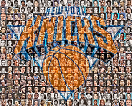 New York Knicks Mosaic Print Art Designed Using 70 Player Photos From  1... - $42.00+