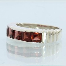 Almandine Garnet Faceted Square Handmade Sterling Silver Ladies Ring size 6.75 - £61.96 GBP