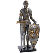 Medieval Times King's Royal Guardian Knight in Shining Armor Sword and Shield St - $107.74