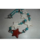 Western Style Handmade Red White and Turquoise Star Necklace Made In Tex... - $40.00